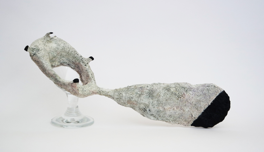 ENEJ GALA, Repaired Object Series, (glass 2), 2018 - modelling paste, iron wire, oil, acrylic  filo di ferro, acrilico - 17x38x12 cm - Courtesy The Artist & A plus A Gallery