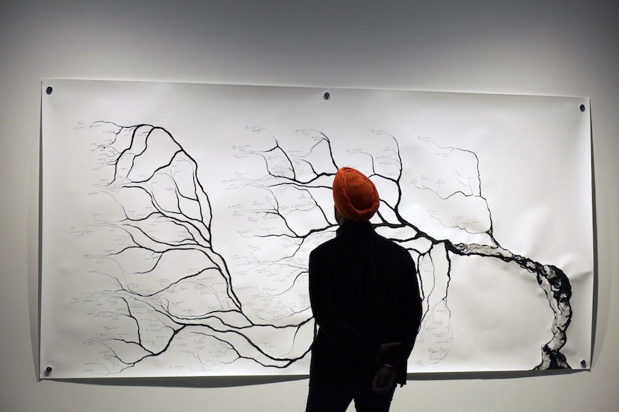 Being a Brief Guide to the Banished Book. Ink on paper. 300x150cm. At Künstlerhaus Bethanien, Berlin. Photo credit: Shubigi Rao