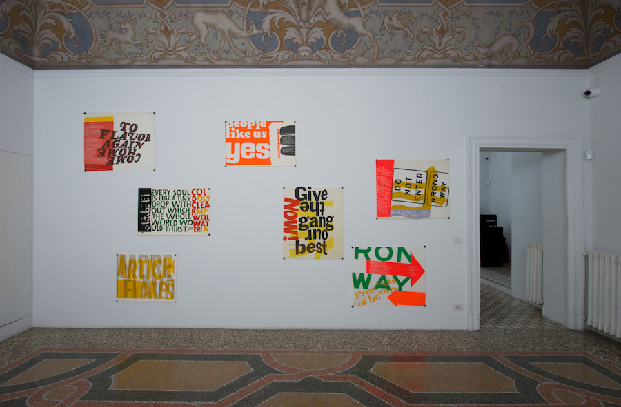 Sister Corita Kent, serigraphs - Installation view at Indipendenza, Rome, 2019 - Courtesy: Corita Art Center, Los Angeles and Indipendenza, Rome - Photo: Giorgio Benni.