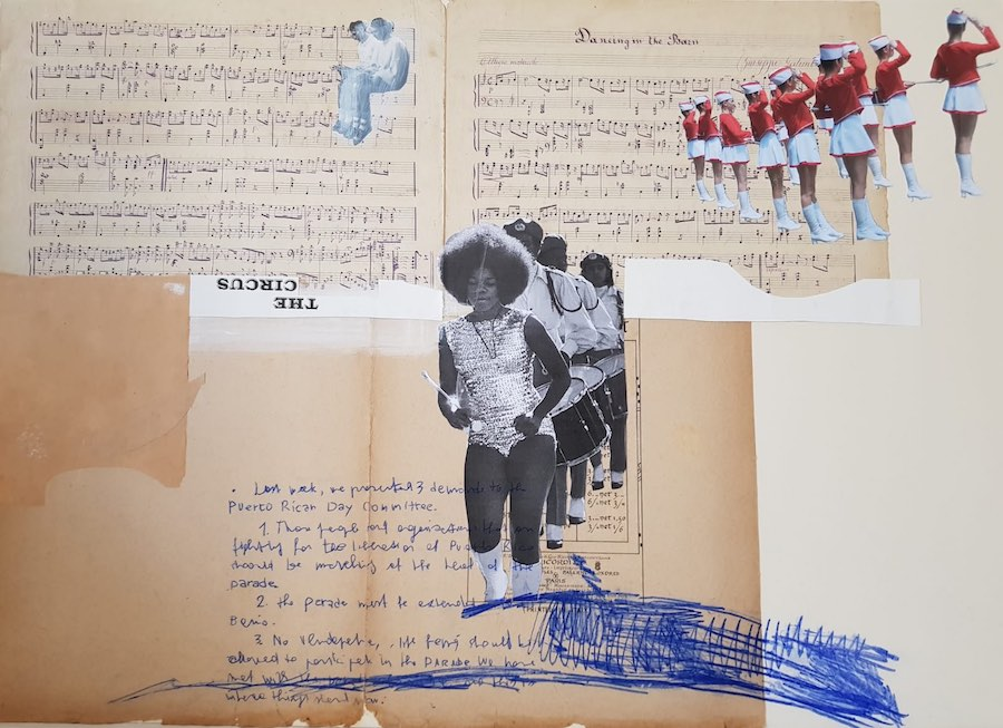 Marinella Senatore, Parades-Brass Band, 2018, collage, brass band music scores from last century, drawing, acrylic and mixed media, 50 x 70 cm, Courtesy SMAC Gallery (Cape Town - Johannesburg - Stellenbosch, Sudafrica)