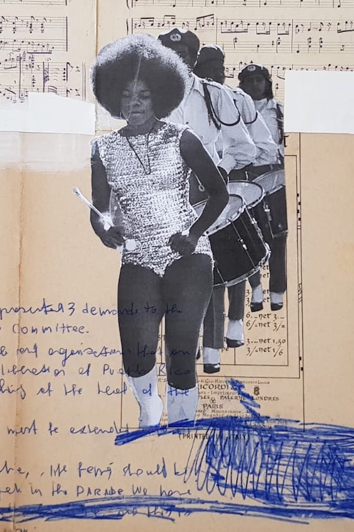 Marinella Senatore, Parades-Brass Band, 2018, collage, brass band music scores from last century, drawing, acrylic and mixed media, 50 x 70 cm, Courtesy SMAC Gallery (Cape Town - Johannesburg - Stellenbosch, Sudafrica), particular