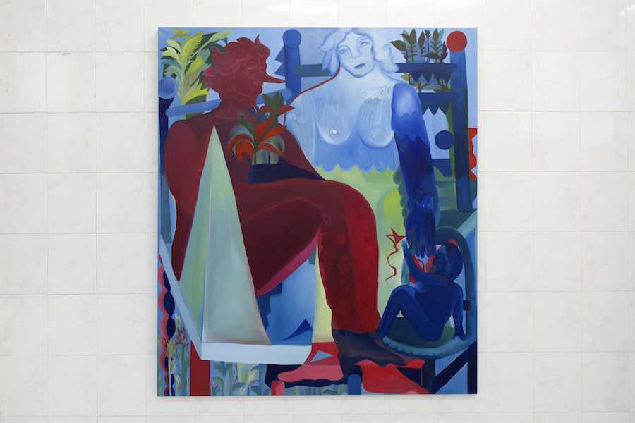 Alice Visentin, La donna e il vento, 2018, oil on canvas, 130 x 150. Courtesy TILE project space and the artist