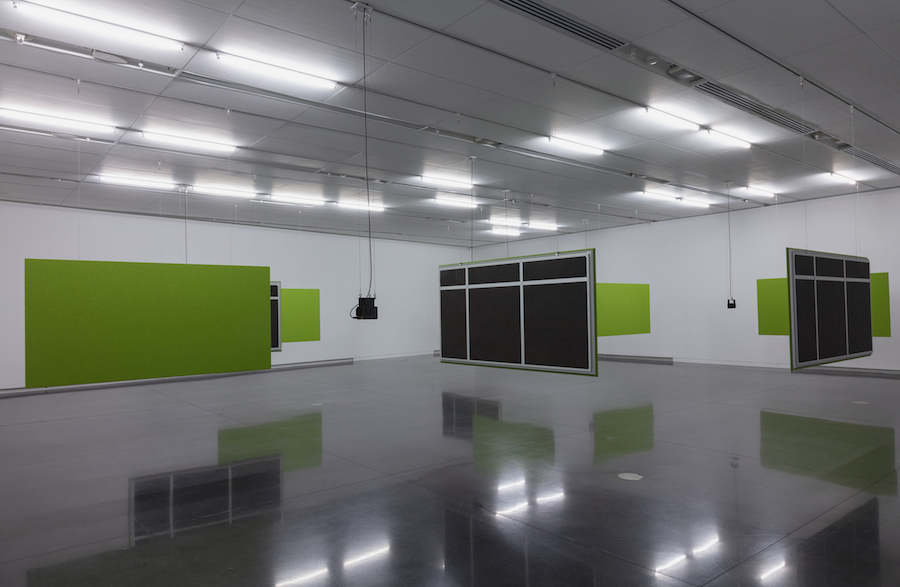 Installation view, Florian Hecker, Synopsis / Seriation, CU Art Museum, University of Colorado, Boulder (CO), USA, 06 September – 22 December 2018 Copyright the artist and CU Art Museum, University of Colorado Boulder, courtesy Sadie Coles HQ, London Photo: Jeff Wells