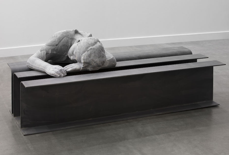 Patrick Tuttofuoco The Power Napper (black Rio), 2017 Italia black veined marble and steel 86 x 84 x 200 cm - Courtesy of the artist and Federica Schiavo Gallery installation view of Federica Schiavo Gallery booth at miart 2018, Milan, Italy ph. Andrea Rossetti