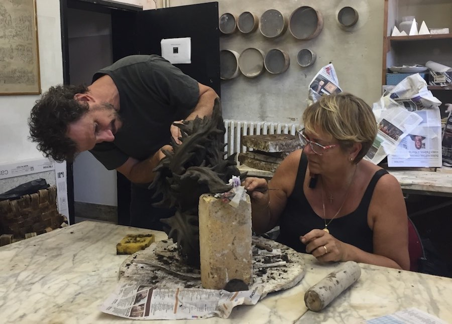 MCZ Francesco Simeti and Aida Bertozzi at work at Museo Carlo Zauli summer 2018 ph Kari Popova