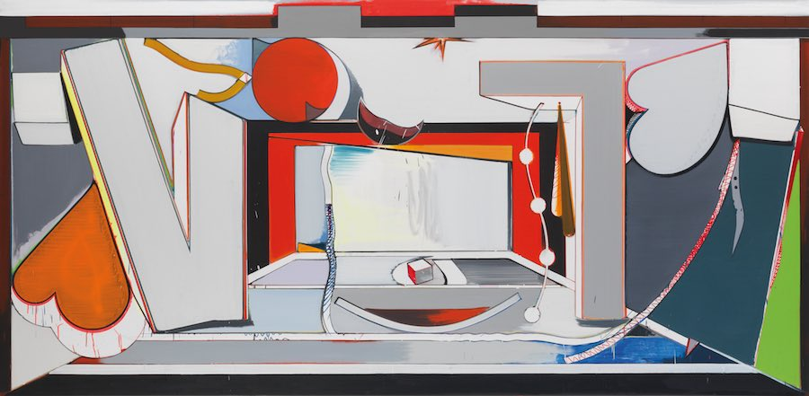 Thomas Scheibitz VT Bühne, 2010 oil, vinyl, pigment marker on canvas 190 x 390 cm © the artist Ph. Jens Ziehe