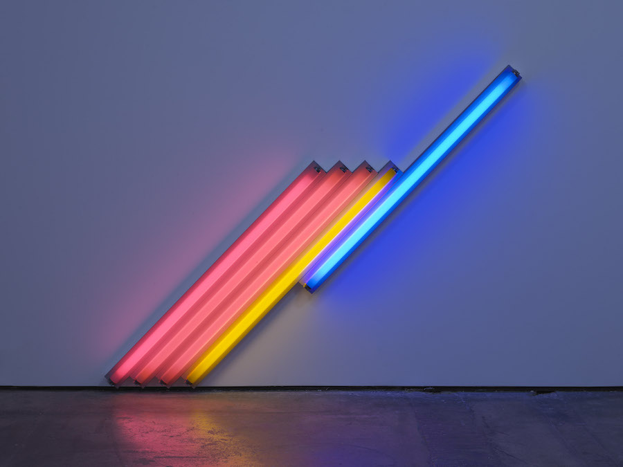 Dan Flavin, Untitled (for Frederika and Ian) 3, 1987. Estate of Dan Flavin - Artists Rights Society (ARS), New York. Courtesy of David Zwirner & Cardu Gallery