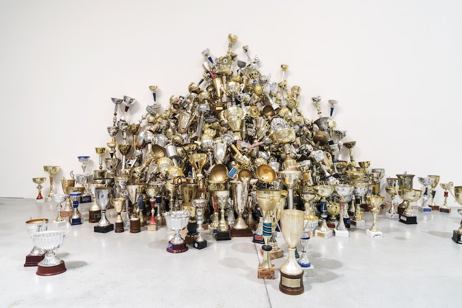 Aleksandra Mir, ​Triumph,​ 2009, 2.529 sporting trophies /​ installation view at ​Centro Pecci Courtesy the artist and ​Centro per l'arte contemporanea Luigi Pecci / ​photo ​Ela Bialkowska, OKNOstudio