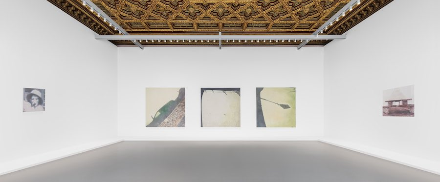 (From left to right) Luc Tuymans, Issei Sagawa, 2014, Tate, Murky Water, 2015, Collezione Prada, Milano, Le Mépris, 2015, Collection of Mimi Haas. Installation View at Palazzo Grassi, 2019 © Palazzo Grassi, Photography by Delfino Sisto Legnani e Marco Cappelletti.