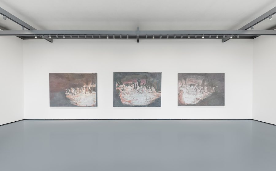 Luc Tuymans, The Arena I, II, III, 2014, Private collection, Singapore. Installation View at Palazzo Grassi, 2019 © Palazzo Grassi, Photography by Delfino Sisto Legnani e Marco Cappelletti