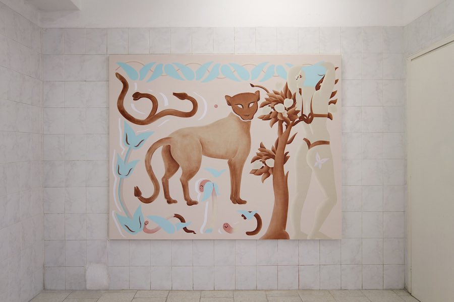 Viola Leddi, Creature adorabili III, oil and acrylic on canvas, 2019. Courtesy Tile project space and the artist. Ph. siliqoon agency