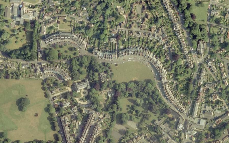 Vista aerea della città di Bath