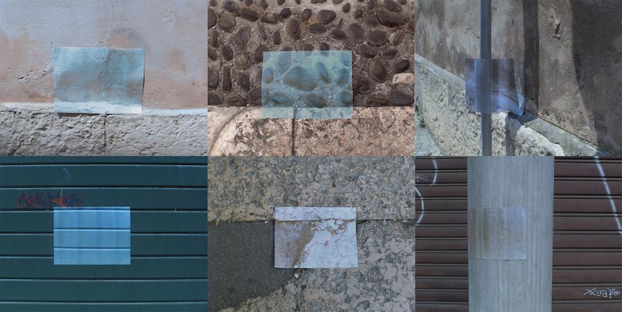 Barbara Ruperti, Appropriazioni mnemoniche, fogli di carta installati in varie zone della città, 29,7x42 cm, 2017